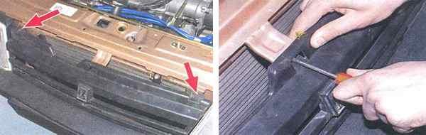 Демонтируем решетку радиатора