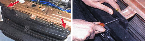 Отсоединение радиаторной решетки