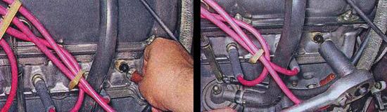 Сдвинув защитный колпачок, отсоединяем провод и выкручиваем измеритель нагрева жидкости