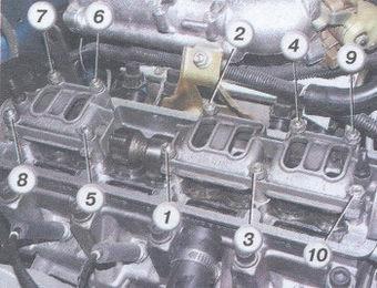 Схема затяжки гаек, крепящих корпуса подшипников