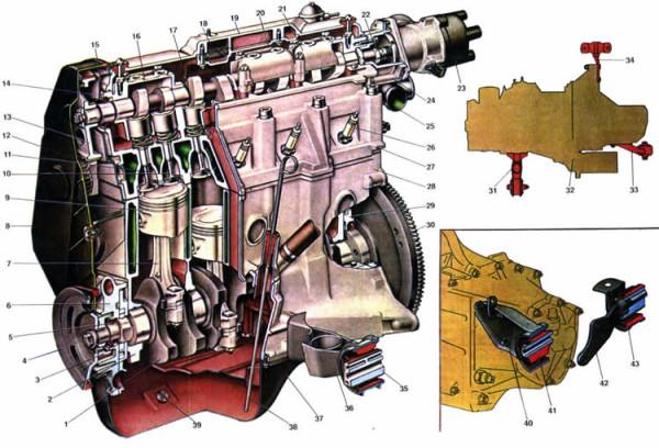 Общий вид двигателя ВАЗ 2108
