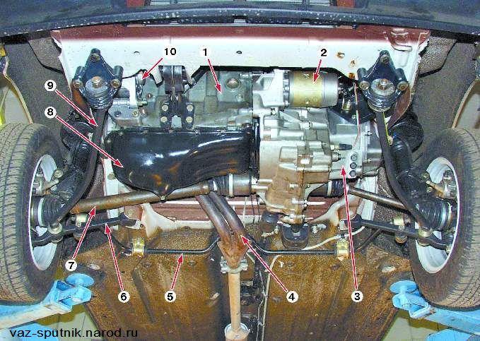 Вид снизу ВАЗ 21093 позиция 8