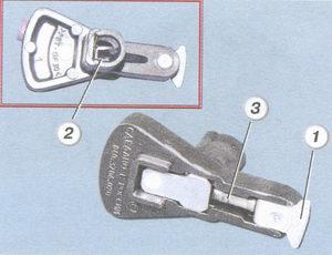 Бегунок вид сверху и снизу (1-внешний контакт, 2-пластинчатая пружина, 2-резистор 1 кОм)