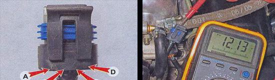Выводы на колодке A-B-C-D, при помощи вольтметра замеряем напряжение на выводах A и D, минусовой контакт вольтметра при этом подсоединен к массе двигателя