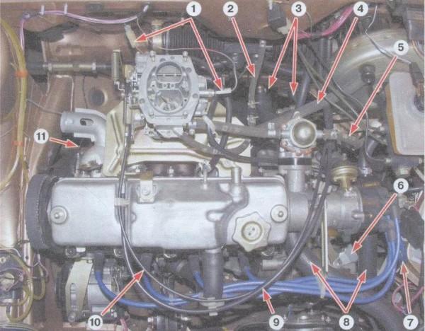 Двигатель ваз 21099 вид сверху