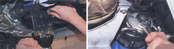 Вид масляного фильтра при демонтаже