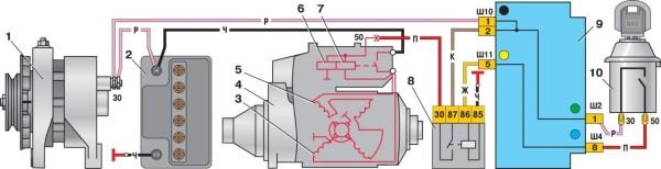 Ваз 2110 схема подключения реле стартера