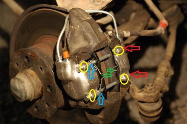 Передние колодки тормоза и их замена