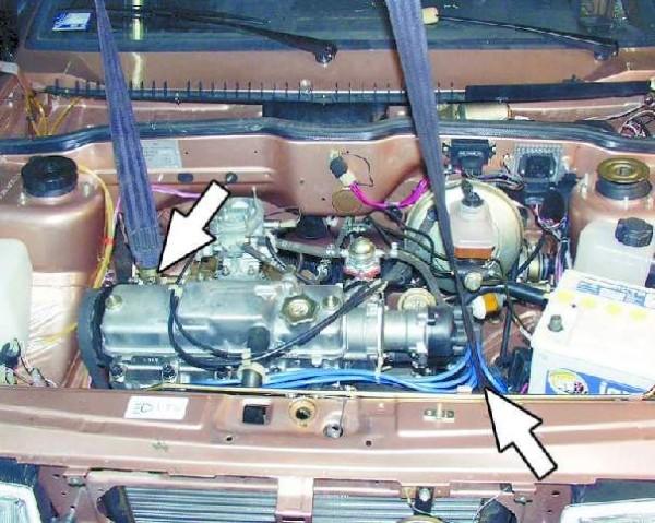 Крепление тросов тали к двигателю