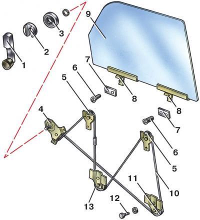 Привод подъёма переднего стекла