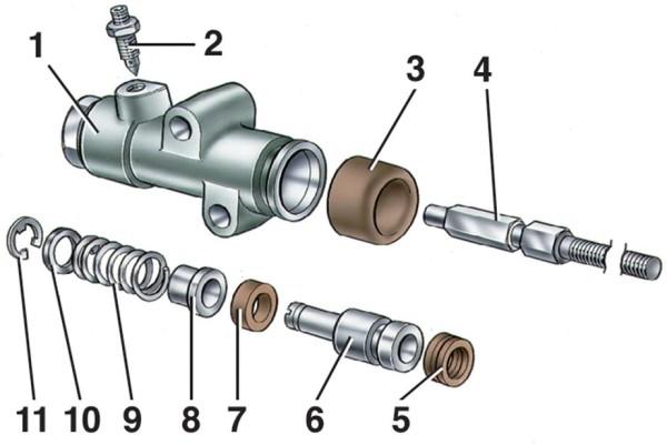 ВАЗ 2107 ремонт рабочего цилиндра сцепления