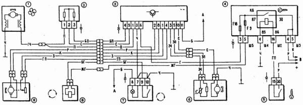 vaz 2110 pechka elektroshema 600x209 - Схема подключения блока управления печкой ваз 2110