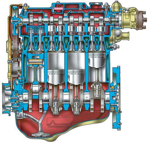 Двигатель ВАЗ 2110 – продольный разрез