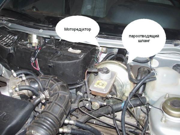 Моторедуктор на автомобиле