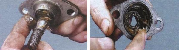 Нанесение смазки в узел шаровой опоры ВАЗ 2108
