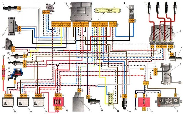 Электросхема ваз 2110 инжектор 16 клапанов