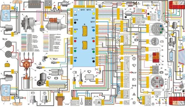 Ваз 21103 схема электропроводки