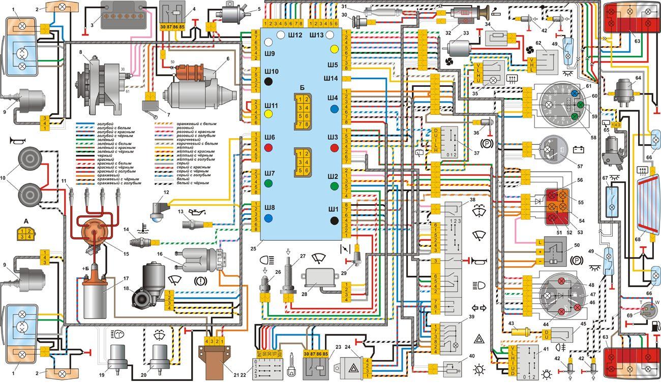 ваз 2110 инжектор электро схема