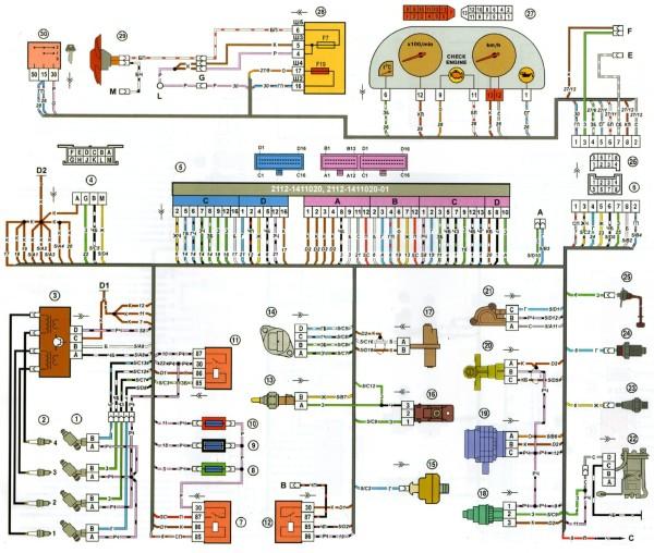 Ваз 21103 схема проводки