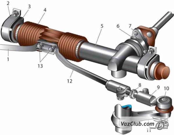 Детали рулевого механизма автомобиля ВАЗ 2110