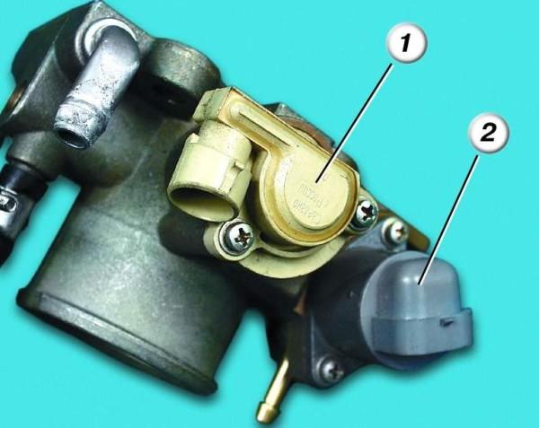 Цифрой 2 обозначен регулятор холостых оборотов