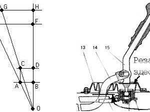 Геометрия перемещения стандартного и переделанного рычага, а так же точки разреза и удлинения для переделки