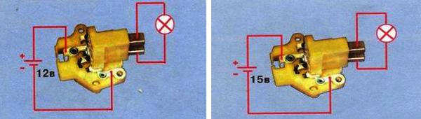 Схема подключения питания и контрольной лампы к реле – регулятору для проверки его исправности