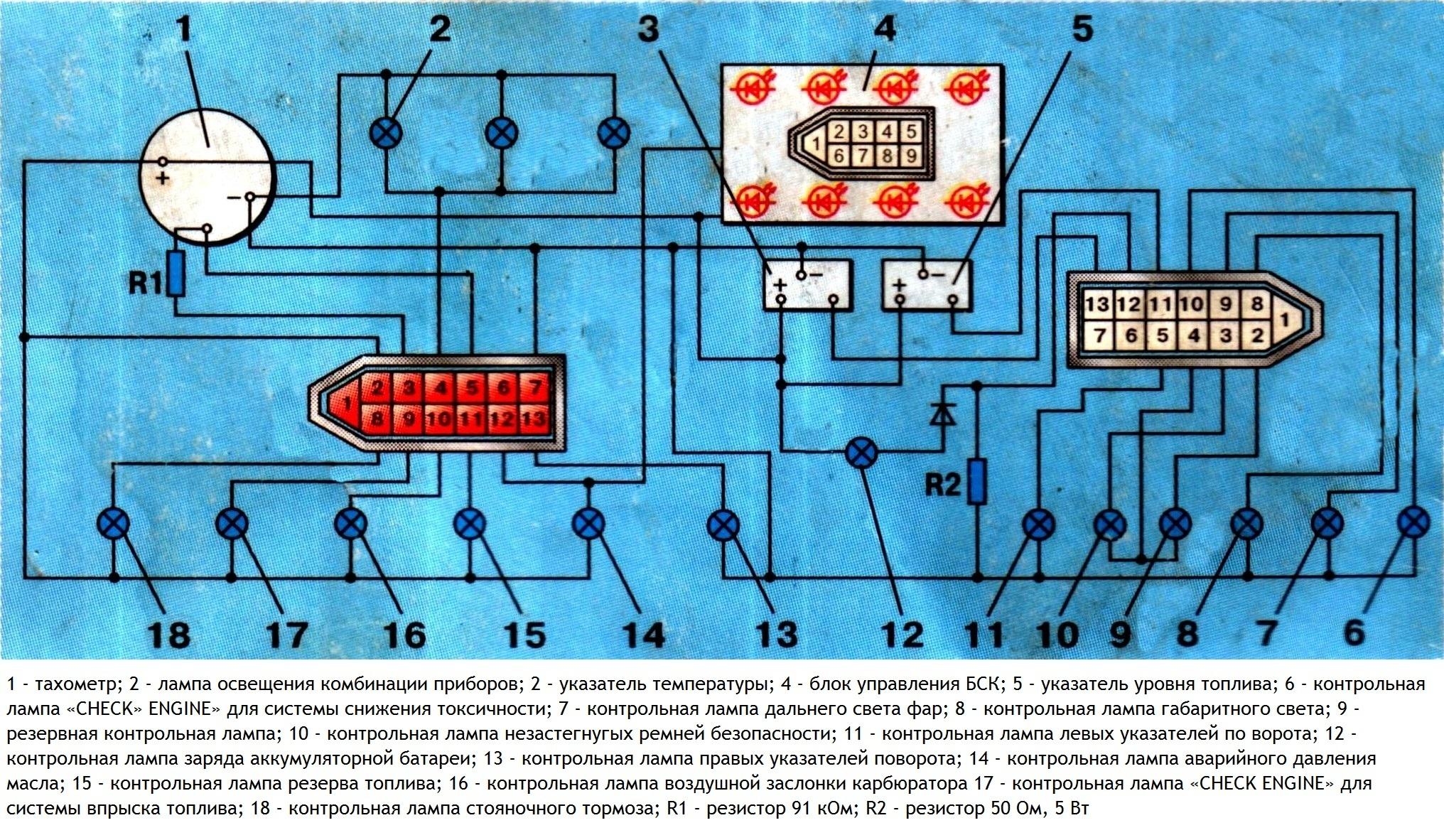 схема щитка приборов ваз-21083