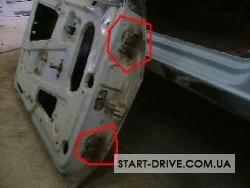 Места установки петель на снятой двери